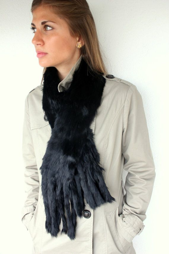 Handmade Fur scarf made with Rabbit fur with trendy and fashionable endings