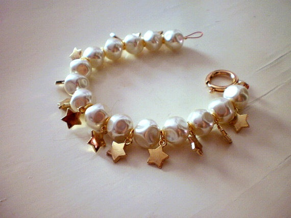 White pearl bracelet with stars / collection 2013 by katerinaki106, $14.50