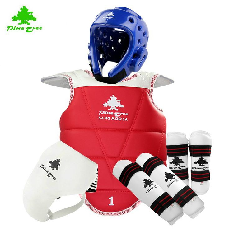WTF Taekwondo Sparring Gear MOOTO Protectors Guards Complete One Set Helmet Head Chest Protector Shin Arm Jockstrap Groin guard
