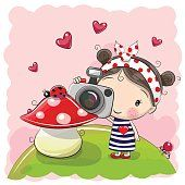 Bonito desenho de menina com uma câmera
