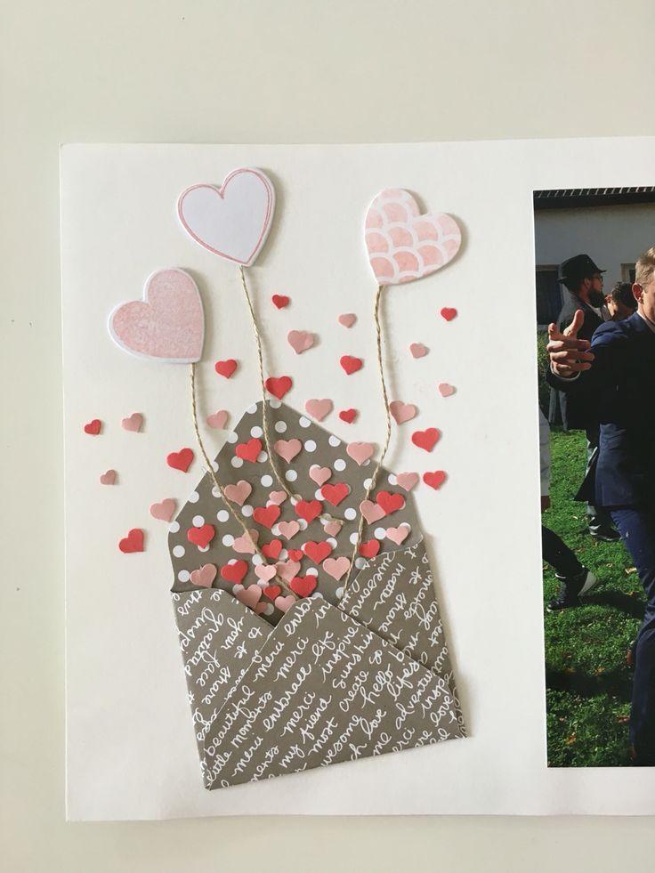 Konfetti Herzchen aus einem Briefumschlag und Herz Luftballons.  Eine kleine Inspiration aus unserer Stampin Up Welt. Es müssen nicht nur Karten zum verschenken sein, auch ein Fotoalbum kann Stampin Up verschönern   #stampinup #inspiration #heartsaflutter