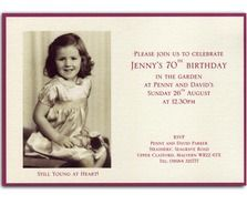 70th birthday Invitations from Heritage Personalised Stationery UK