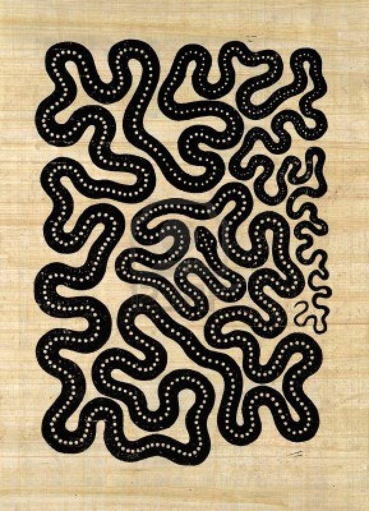 """Linogravure fait par moi nommé """"Snake"""", il montre un modèle abstrait formé d'un serpent très sinueux, imprimé en noir sur brun clair papyrus..."""
