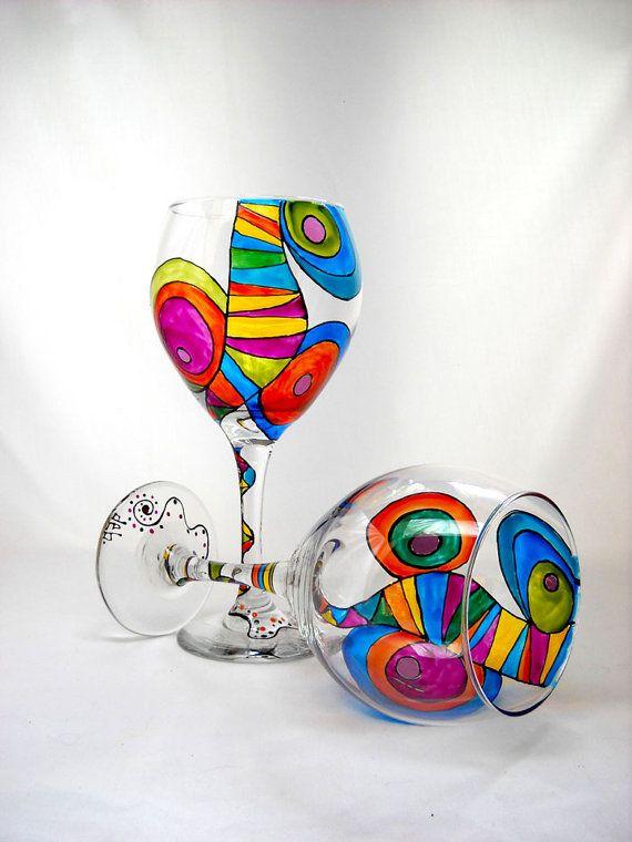 Copa de vino personalizados Copa festiva de por SkySpiritStudios