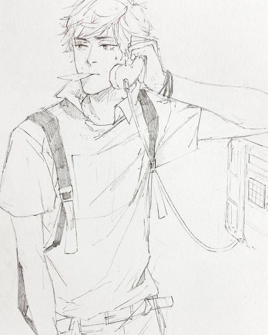 Guy, Drawing, Rough Sketch, Outline, Phone, School, Anime, Mid-Range Hair, Pose, 19 - 23