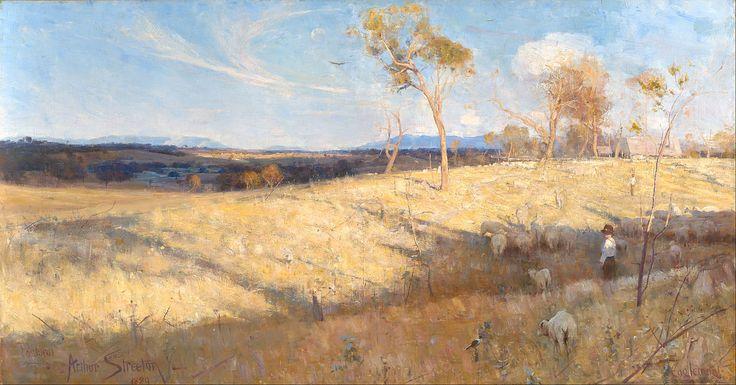 Arthur Streeton, Golden Summer, Eaglemont.  Please click, it enlarges well.