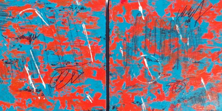 """""""GOOD VIBRATION #1 & #2""""- acrylic 8""""x8"""" each by Patty Fontaine"""