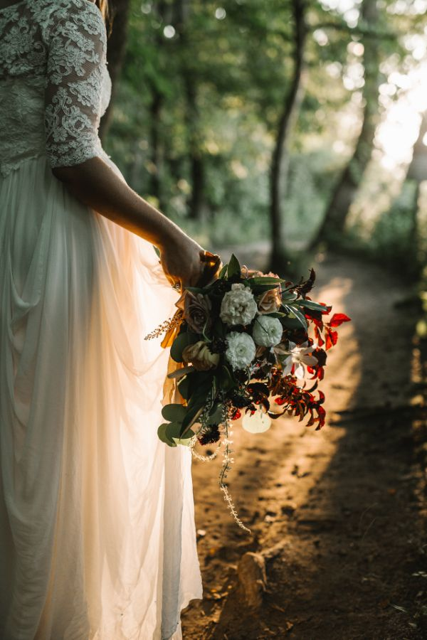 Bridal Bouquet at outdoor elopement by Foraged Floral, Portland, OR