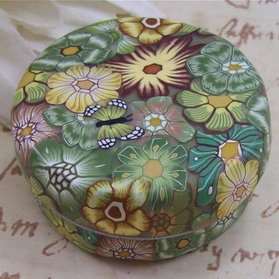 Polymer Clay Covered Tin Pill Box by CAG by polymerclayshed