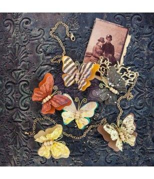Colección de Mariposas de papel hechas a mano con papel morera de la colección Timeless Memories de Prima Marketing un total de 6