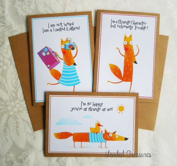 Friendship Quirky Weird Strange Greeting Cards - Pack of 3