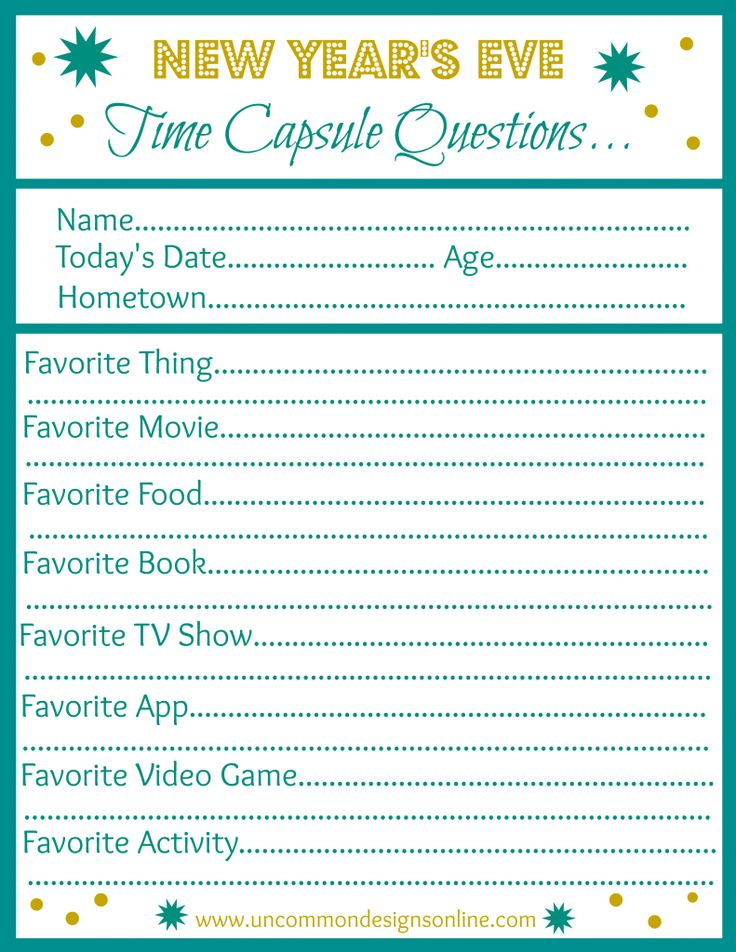 DIY time capsules. Great way to ring in the new year with anyone, but especially younger friends and family members. Free printable and tips for creating the perfect time capsule. And see here for a simpler free printable for the younger kids: http://www.uncommondesignsonline.com/kid-friendly-new-years-resolution-printable-and-a-giveaway-from-my-memories/.