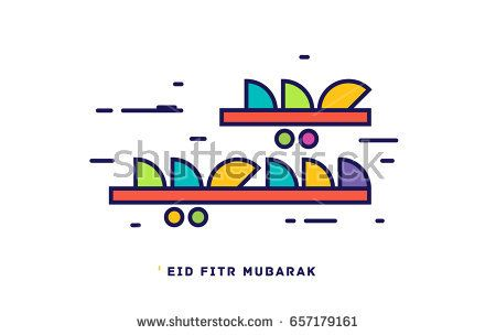 Green and orange & red & yellow 'eid fitr mubarak' vector calligraphy - Eid Mubarak Wishes 2017, Greetings card , Eid Mubarek Cards 2017