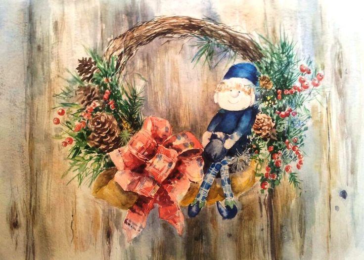 Christmas elf .watercolor