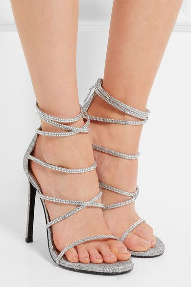 Heel measures approximately 120mm/ 5 inches Silver glittered mesh Zip fastening along back
