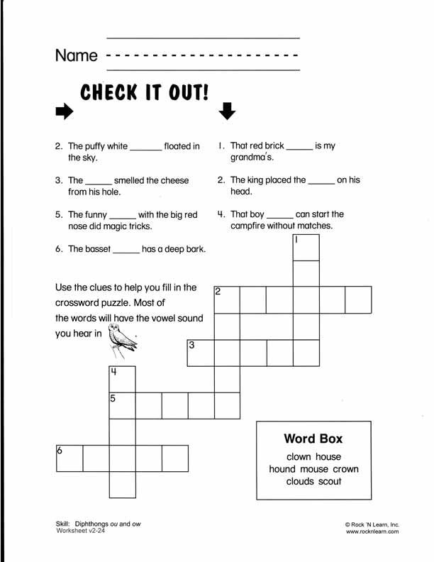 ou ow crossword i am a teacher pinterest phonics worksheets children and free phonics. Black Bedroom Furniture Sets. Home Design Ideas