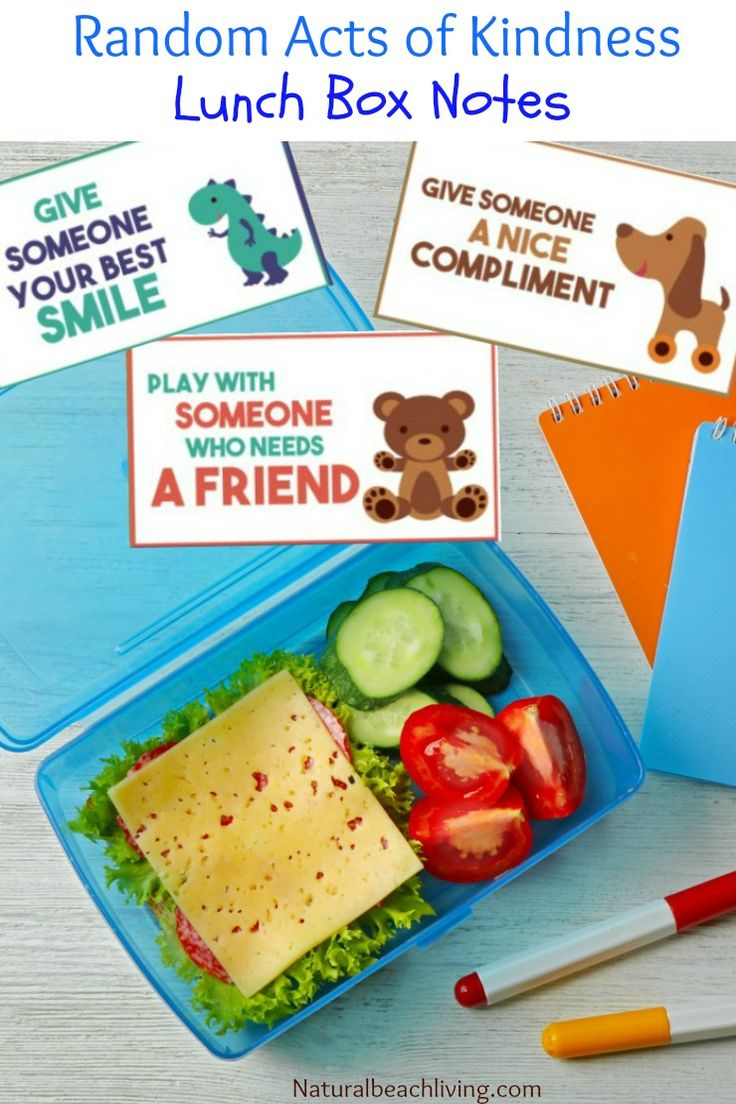 Kindness crafts for preschoolers - Random Acts Of Kindness Ideas For Kids Printable Lunch Box Notes