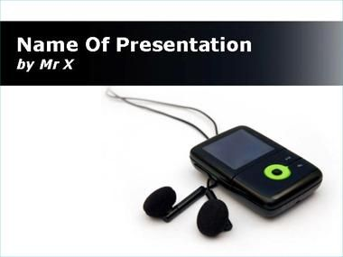 Black MP3 on Whiteboard Powerpoint Template