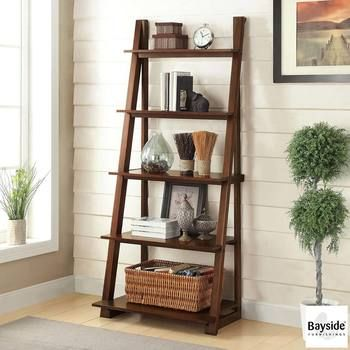 Bayside Furnishings Ladder Bookcase with 5 Fixed Shelves