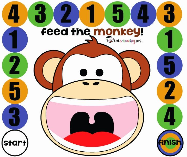 Free Printable Board Game for Toddlers and PreK: Feed the Monkey