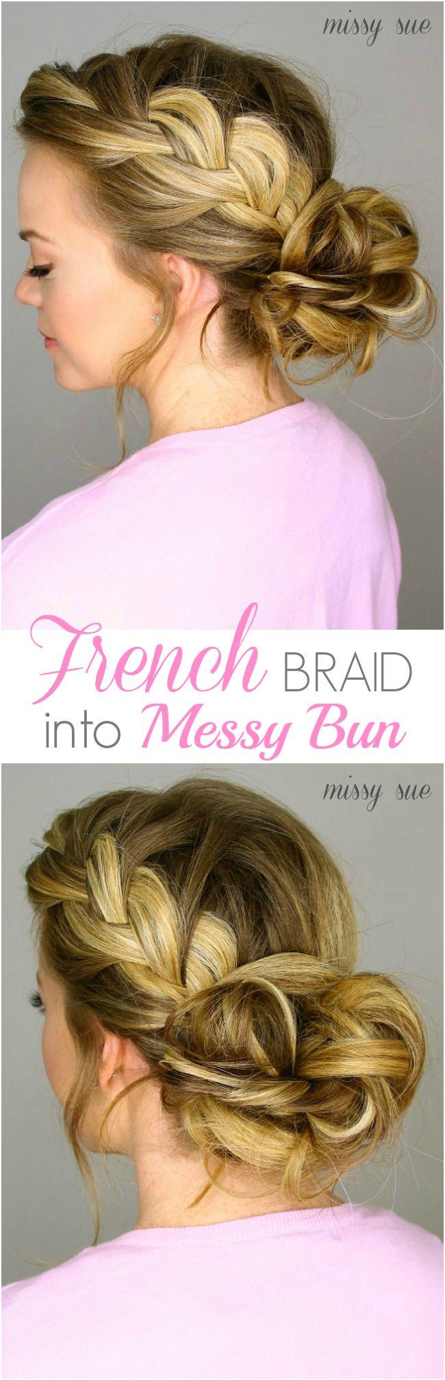 French Braid into Messy Bun