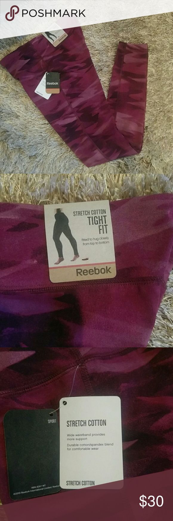 "NWT Reebok fitness essential tight NWT Reebok fitness essential printed legging in camo mystic maroon. Athletic tights,  fitted to hug closely from top to bottom.  28"" inseam,  cotton and spandex. Size XS. Reebok Pants Leggings"