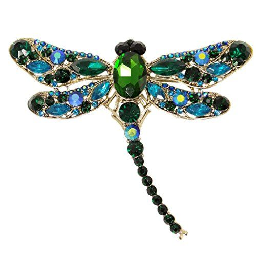 EVER FAITH Dragonfly Gold-Tone Teardrop Pendant Brooch Green Austrian Crystal