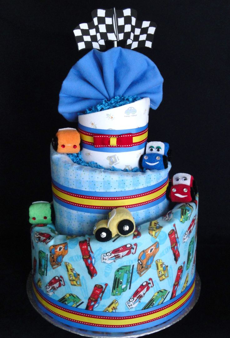 Car themed Diaper Cake www.facebook.com/DiaperCakesbyDiana