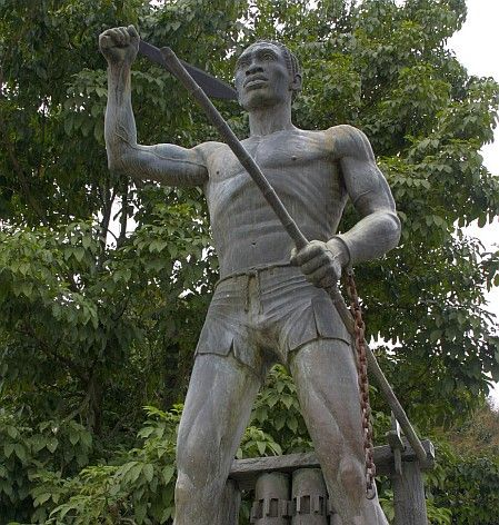 A staue of Gaspar Yanga.  A man widely considered to have established one of the first free black settlements in North or South America.