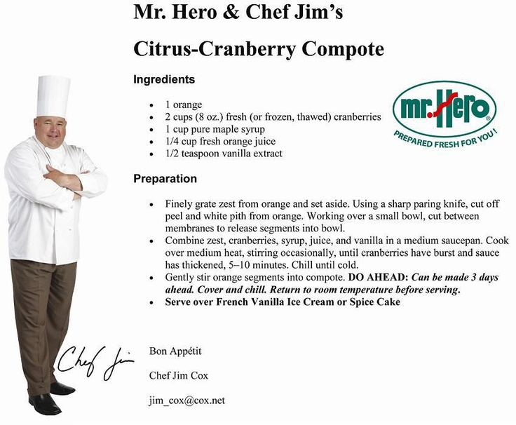 Citrus-Cranberry Compote ~ Great recipe from Mr. Hero and Chef Jim!