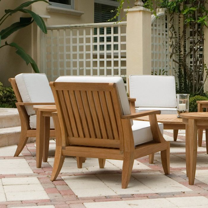 Laguna teak deep seating outdoor lounge chair side for Teak outdoor furniture