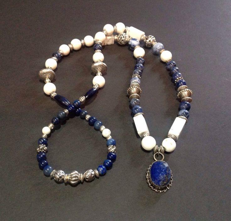 lapis bead necklace, lapis pendant, lapis lazuli necklace,  blue beaded necklace, lapis jewelry, blue and white necklace, stone necklace by mackandjane on Etsy https://www.etsy.com/listing/516479341/lapis-bead-necklace-lapis-pendant-lapis