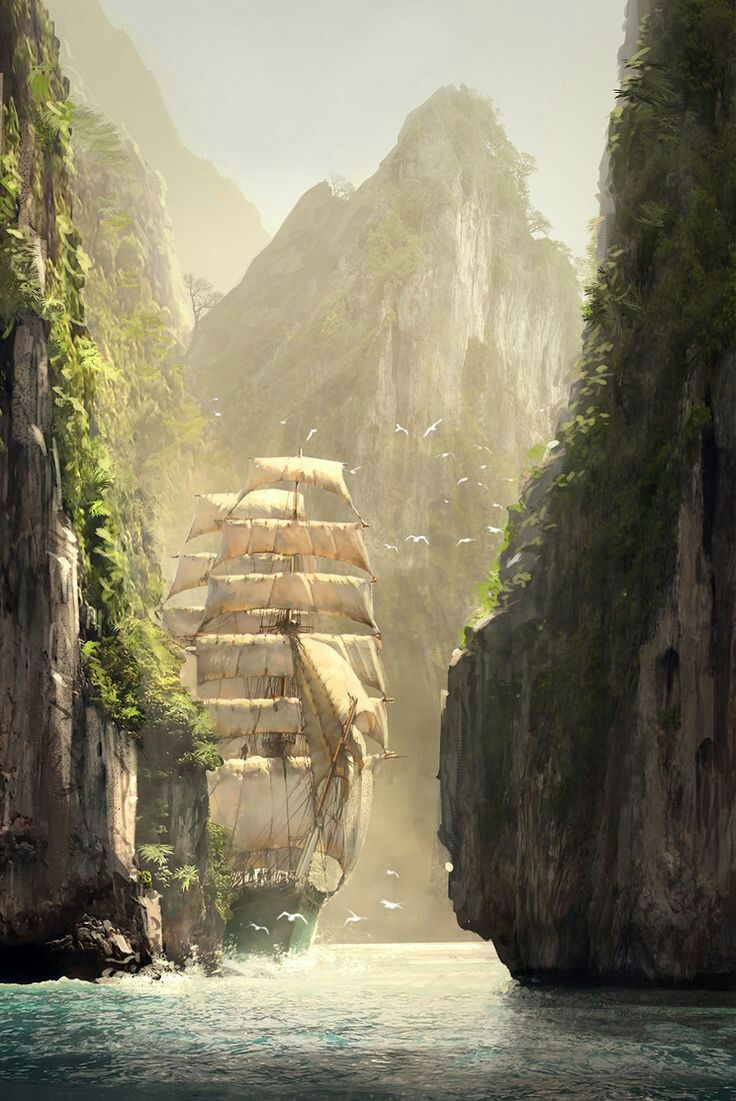 Along the Strait of Ara Lulia - Assassin's Creed concept by R. Lacoste  Featured on Cyrail: Inspiring artworks that make your day better