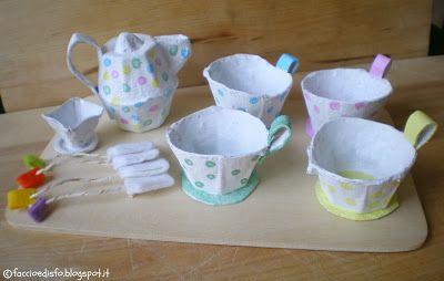 Faccio e Disfo: Giochi fai-da-te: il tea set con i cartoni delle uova: