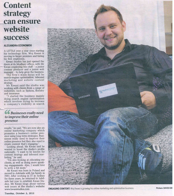 """""""Content strategy can ensure website success"""" by Alexandra Economou in the SA Business Journal (Adelaide Advertiser) - Tuesday, October 2, 2012"""