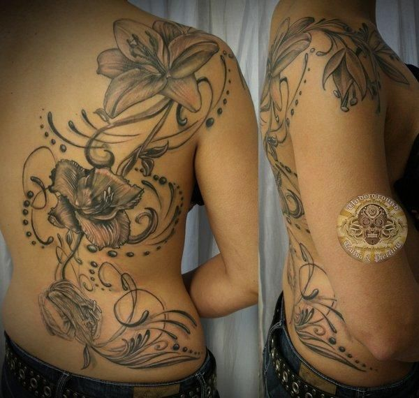 Flower back Lily final - 55  Awesome Lily Tattoo Designs  <3 <3