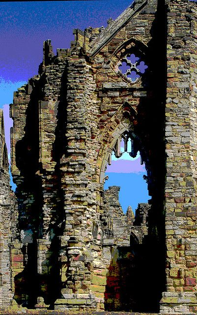 Whitby Abbey, a ruined Benedictine abbey overlooking the North Sea on the East Cliff above Whitby in North Yorkshire, England. Established 657AD