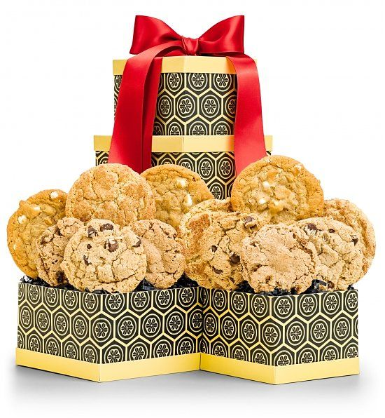 Double Delight Cookie Duo  |  Gourmet cookies are freshly baked using only the finest premium ingredients like Belgian chocolate and fine cake flour. Presented in a vibrant two-box tower, it's a sweet gesture for any occasion.
