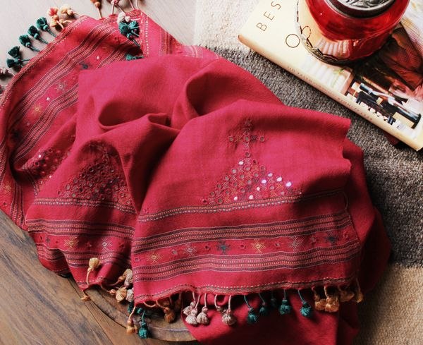 Red Handwoven Pure Wool Stole With Mirror Work and Handmade Pom Poms