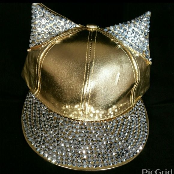 Gold Blinged out hat Brand new Blinged out gold hat Accessories Hats