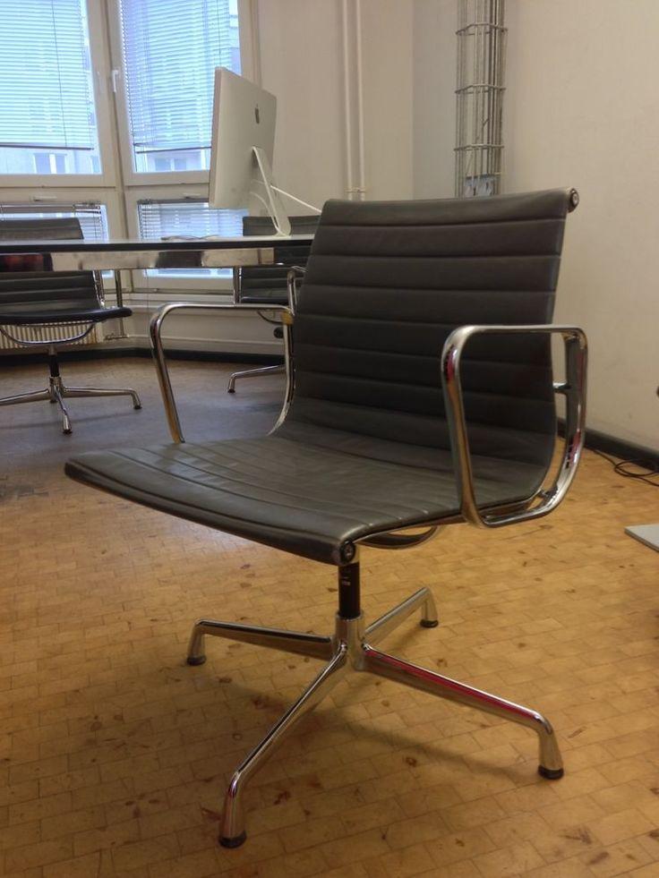 vitra eames alu chair ea 108 besucherstuhl leder schwarz. Black Bedroom Furniture Sets. Home Design Ideas
