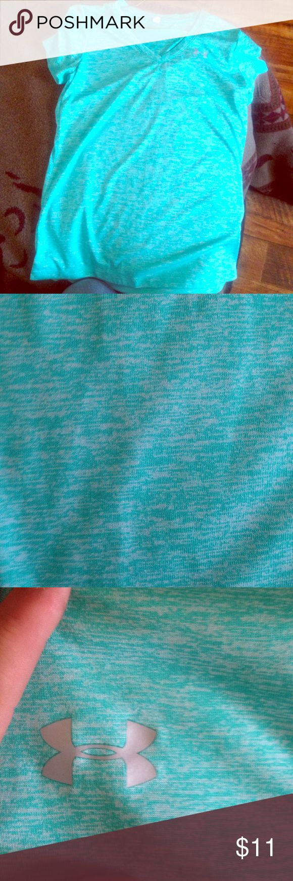 Under Armour V-neck Mint green shirt Worn once Under Armour Tops Tees - Short Sleeve