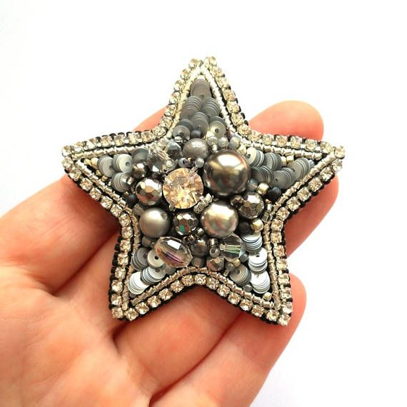 Star Brooch Silver Star Beadwork Handmade Jewelry