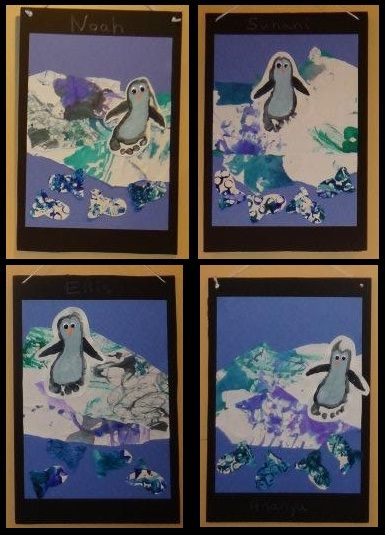 Penguin footprints - infant art projects