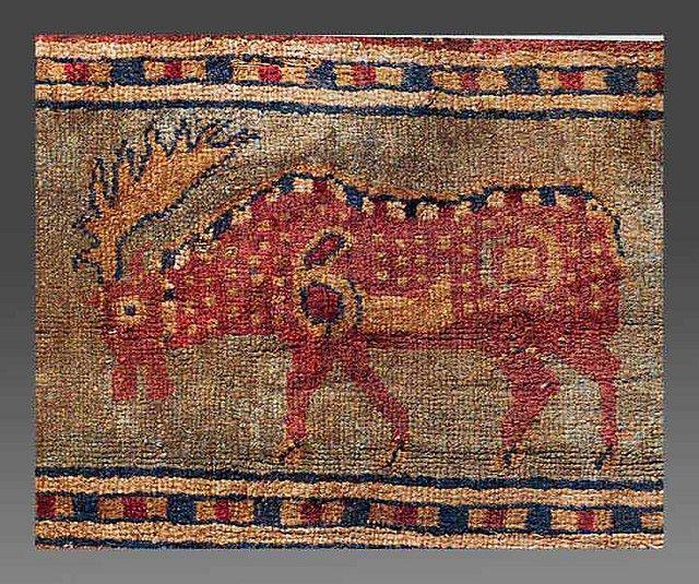Pazyryk rug, detail of a moose, c.2300 BC | by julianna.lees