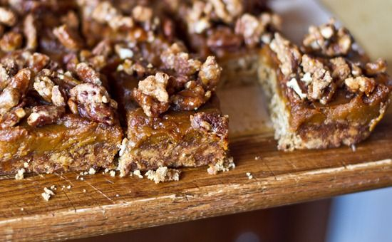 Pumpkin Butter Oat Squares with Candied Pecans. Gluten free (if you ...