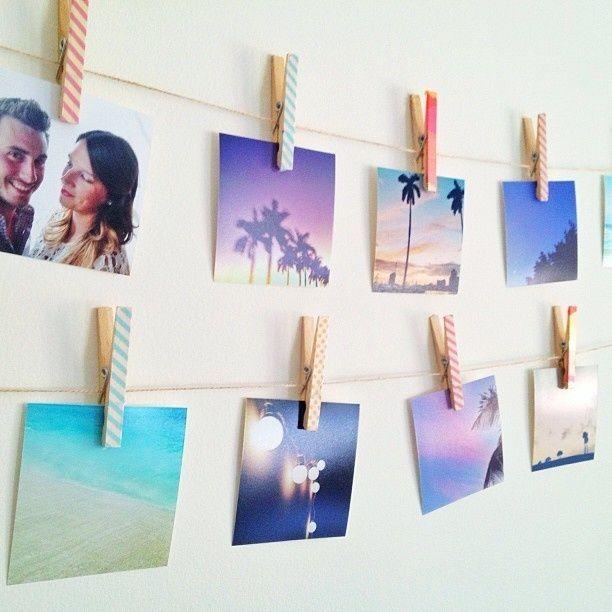 Fotos no varal, personalize os grampos e divirta-se.