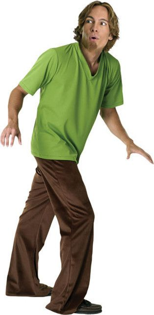 #16498 Zoinks! Grab Scooby and head out for an adventure this Halloween with this official Shaggy Costume. Includes: Wig, goatee, shirt & pants Size: Standard