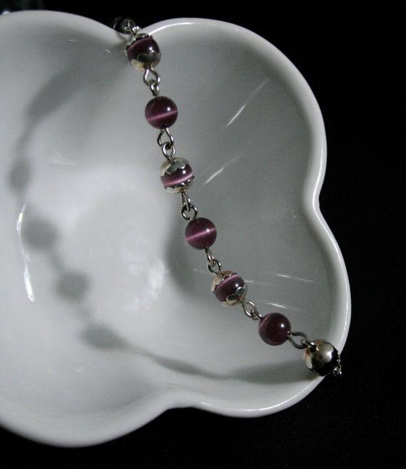 Purple Cats Eye Link Bracelet by BlueJewelsCreations on Etsy, $10.00