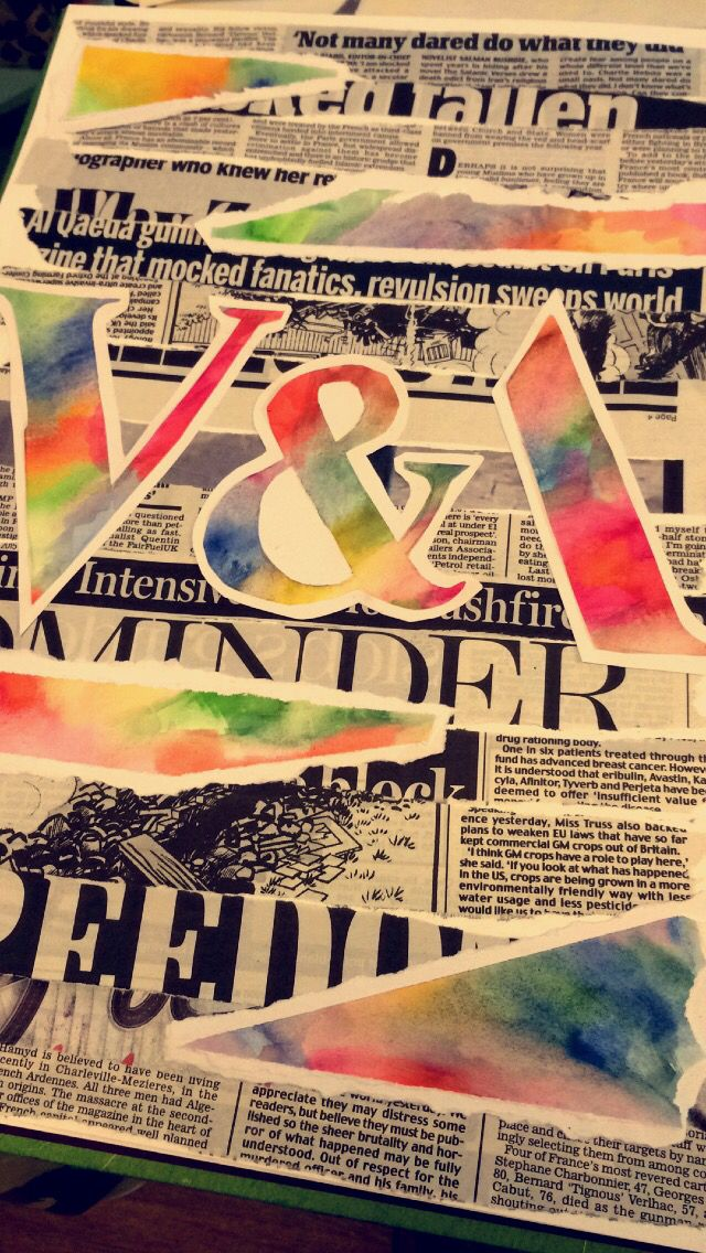 MY PIECE. Title page ideas. Mary O. Using newspaper as a background then cutting out the letters from paper which has been coloured using watercolours which are then mounted onto white paper.